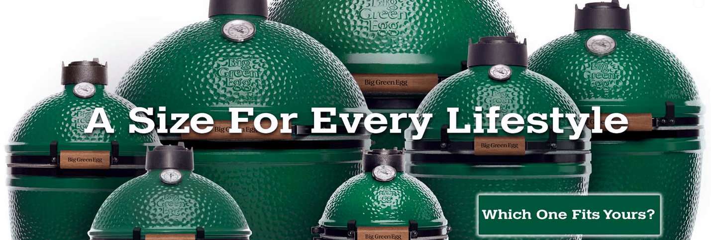 A size that fits every lifestyle. Photo of Big Green Egg Grills in various sizes.