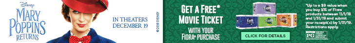 Disney Mary Poppins Returns in theatres December 19 Get a Free Movie Ticket with you Fiora® purchase